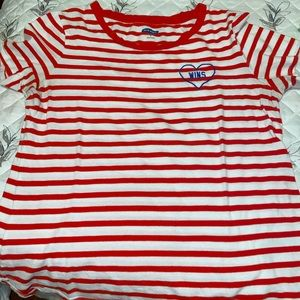 Old Navy Red & White Line Shirt With Heart Design